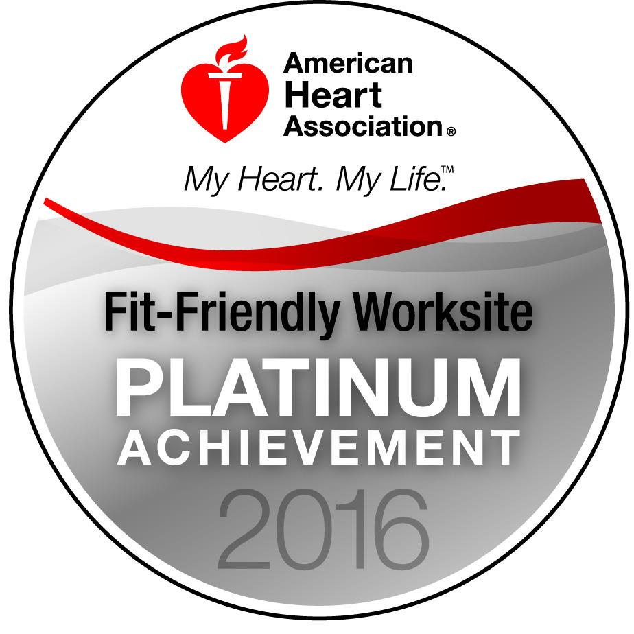 AHA Fit-Firendly Worksite Platinum Acheivement