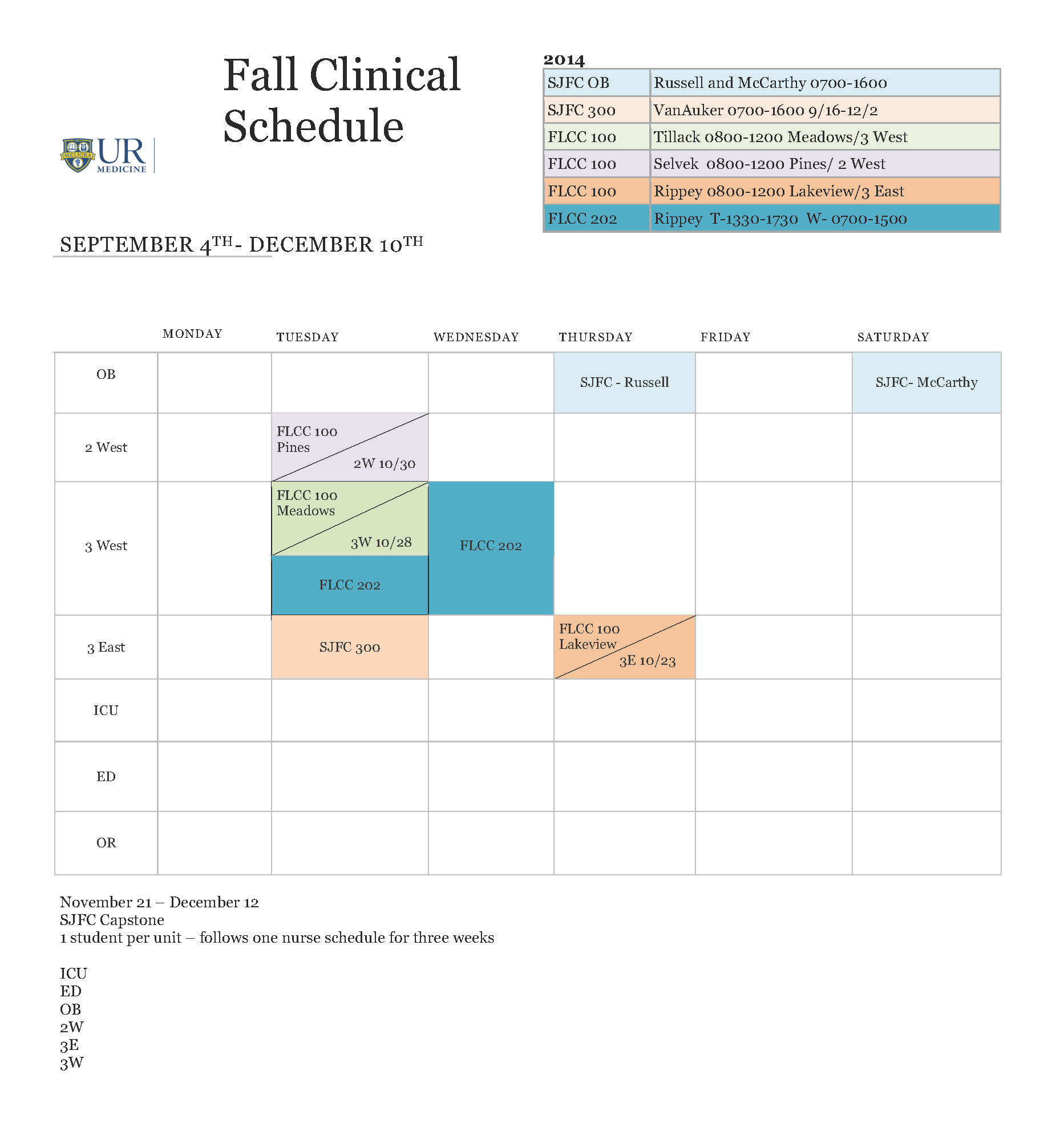 Fall Clinical Schedule